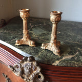 1920s Brass Footed Candleholders - a Pair - FREE SHIPPING!