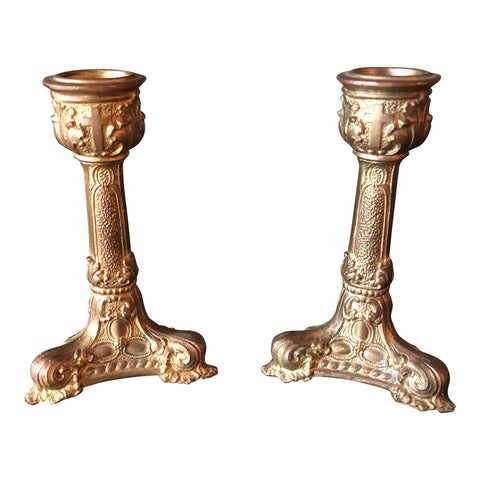 1920s Brass Footed Candleholders** - a Pair - FREE SHIPPING!