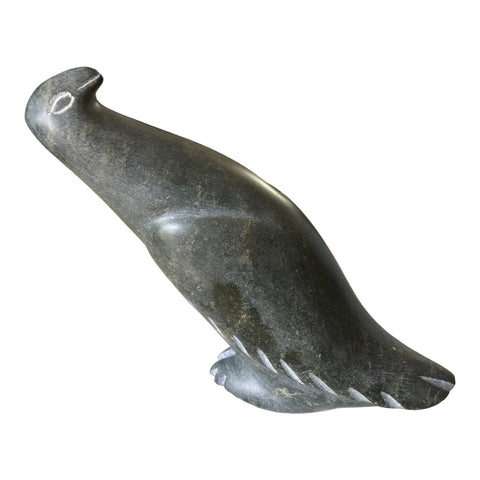 1920s Vintage Inuit Pigeon Carved Stone Signed Sculpture - FREE SHIPPING!