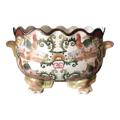 1930's Asian Chinoiserie Ceramic Rooster Bowl - FREE SHIPPING!