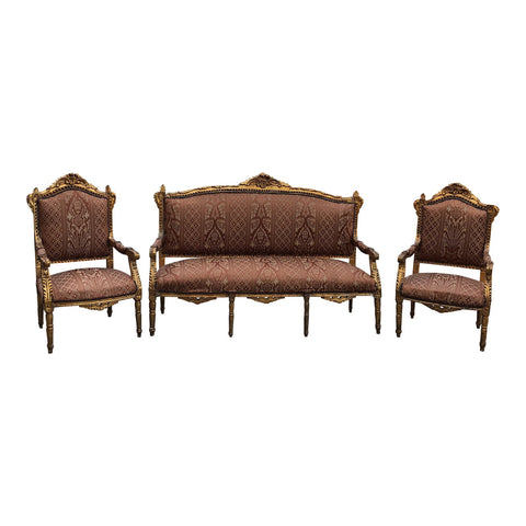 1930s Vintage Imperial Gilded French Sofa and Chairs - Set of 3 - Vintage Furniture Shop Online, Antique Furniture Atlanta Ga – Fig