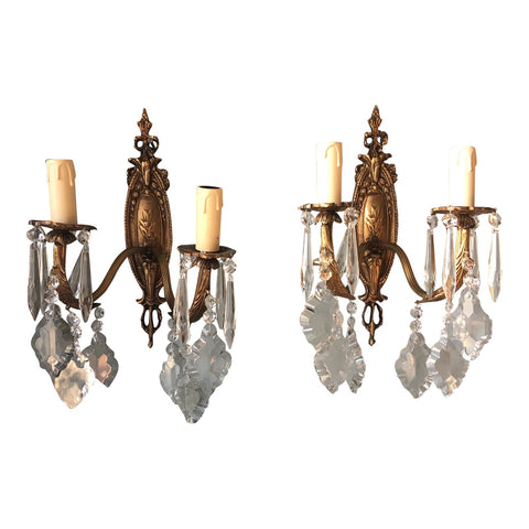 1940s French Crystal Sconces - a Pair - FREE SHIPPING!