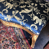 1940s Vintage Peacock Blue and Gold Gilded Bench - FREE SHIPPING!