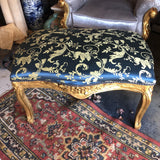 1940s Vintage Peacock Blue and Gold Gilded Bench** - FREE SHIPPING!