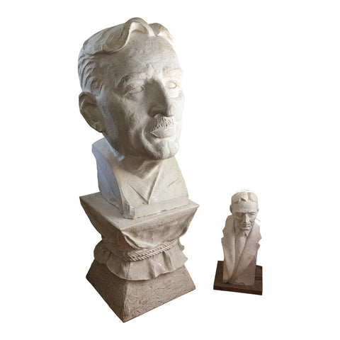 1950s Artist Self-Portrait Sculptures on Pedestals by Edmund Ast - a Pair - FREE SHIPPING!