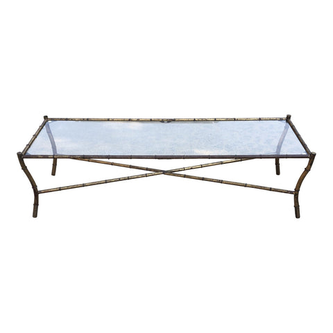 1950s Hollywood Regency Long Metal Bamboo Coffee Table - FREE SHIPPING!