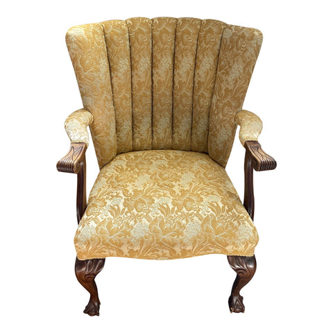 1950s Vintage Yellow Shell Back Claw Foot Chair - FREE SHIPPING!