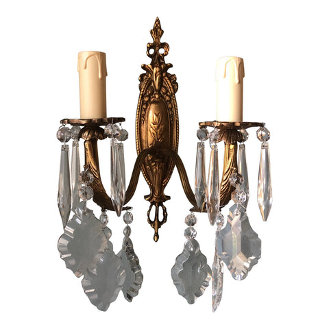 1960s French Sconce With Crystals - FREE SHIPPING!