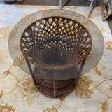 1960s Handwoven Macrame Side Table With Glass - FREE SHIPPING!