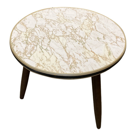 1960s Mid Century Faux Marble Top Side Table - FREE SHIPPING!