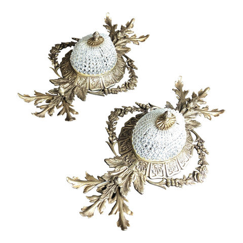 1970s Acanthus Flush Mount Light Fixtures** - a Pair - FREE SHIPPING!
