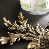 French Crystal and Acanthus Brass Flush Mounts - a Pair - FREE SHIPPING!