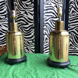 1970s Alsy Stamped Brass Tea Tin Lamps Finials Included - a Pair - FREE SHIPPING!