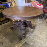 1970s Antique Wooden Pedestal Table on Castors - FREE SHIPPING!