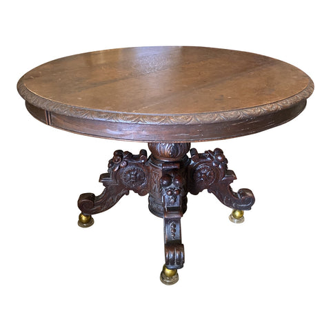 1970s Antique Wooden Pedestal Table on Castors** - FREE SHIPPING!
