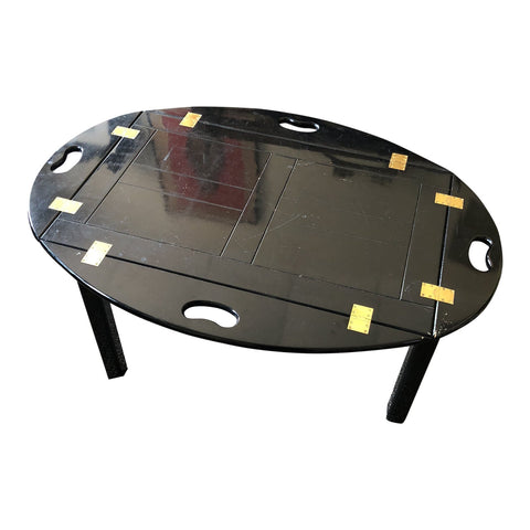 1970s Asian Modern Black Butler Serving Table Tray - FREE SHIPPING!