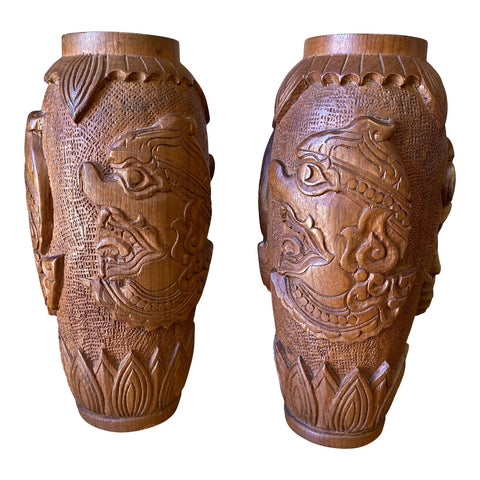 1970s Asian Wooden Hand Carved Vases - a Pair - FREE SHIPPING!
