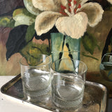 1970s B Monogrammed Rock Glasses With Silver Tray - Set of 3 - FREE SHIPPING!