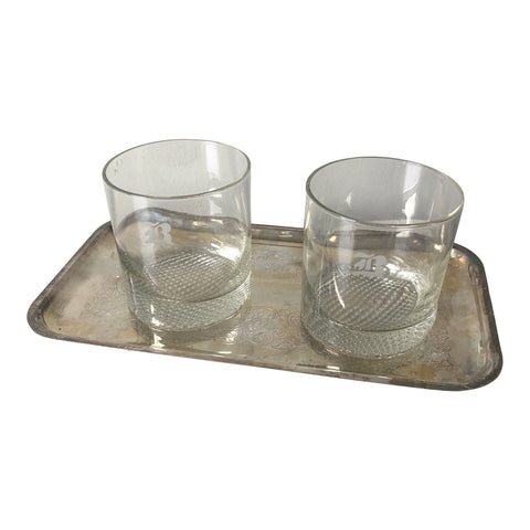 1970s B Monogrammed Rock Glasses With Silver Tray** - Set of 3 - FREE SHIPPING!
