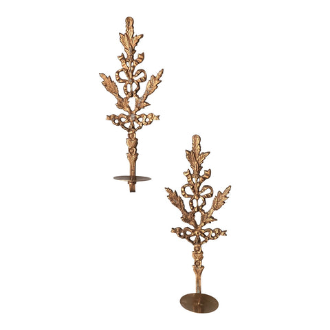 1970s Brass Acanthus Leaf Sconces - a Pair - FREE SHIPPING!