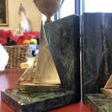 1970s Brass and Marble Sailboats Book Ends - a Pair - FREE SHIPPING!