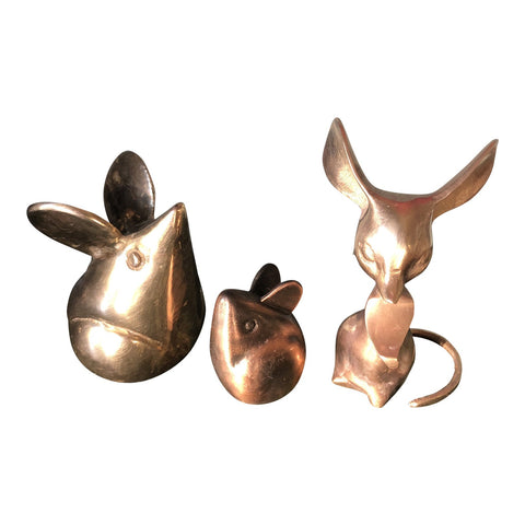 1970s Brass Mid Century Mice** - Set of 3 - FREE SHIPPING!