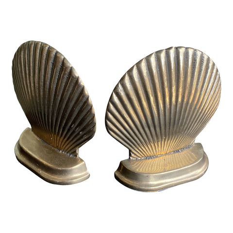 1970s Brass Shell Bookends - a Pair - FREE SHIPPING!