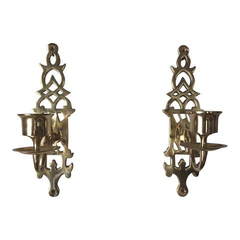 1970s Brass Wall Candleholders - a Pair - FREE SHIPPING!