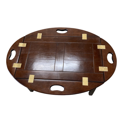 1970s Brown Wooden Coffee Table W Removable Tray Top - FREE SHIPPING!