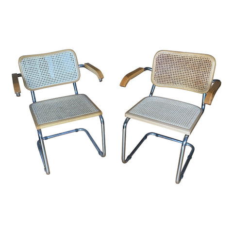 1970s Cantilever Chrome and Wicker Chairs - a Pair - FREE SHIPPING!
