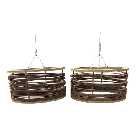 1970s Wooden and Cardboard Chandeliers - a Pair** - FREE SHIPPING!
