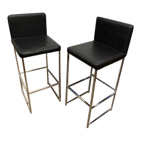 1970s Chrome and Black Bar Stools - a Pair - FREE SHIPPING!