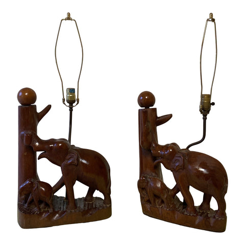 1970s Elephant Teak Lamps - a Pair** - FREE SHIPPING!