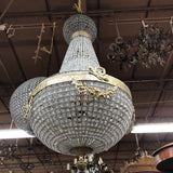 1970s Empire Brass and Glass Chandelier - FREE SHIPPING!
