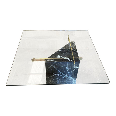1970s Geometric Marble, Brass & Glass Coffee Table** - FREE SHIPPING!