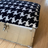 1970s Houndstooth Brass Storage Box With Latch - FREE SHIPPING!