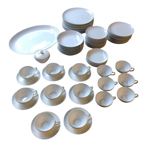 1970s Japanese Minimalist Fukagawa White Serving Set** - 72 Pieces - FREE SHIPPING!