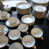 1970s Japanese Minimalist Fukagawa White Serving Set - 72 Pieces - FREE SHIPPING!