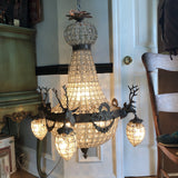 1970s Large Aged Bronze Deer Head Stag Chandelier - FREE SHIPPING!