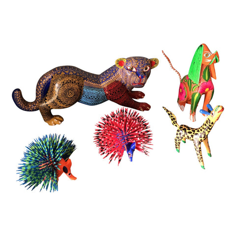 1970s Mexican Alebrijes- Set of 5 - FREE SHIPPING!