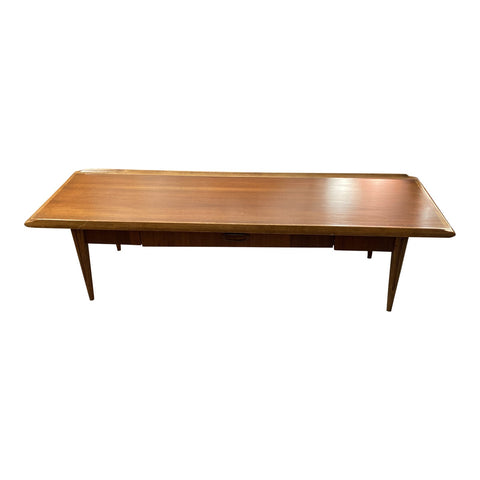 1970s Mid-Century Solid Wood Surfboard Coffee Table With Drawer - FREE SHIPPING!