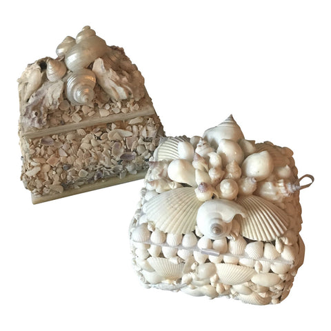 1970's Pair of Nautical Seashell Boxes FREE SHIPPING!