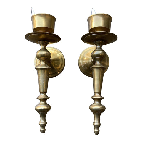 1970s Neoclassical Brass Sconces - a Pair - FREE SHIPPING!