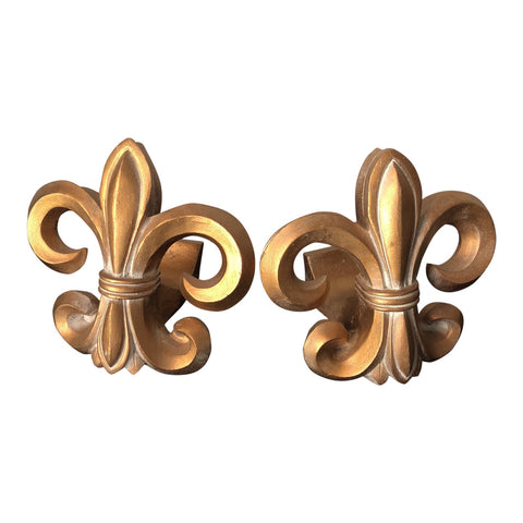 1970s Neoclassical Fleur De Lis Wooden Rod Holders - a Pair - FREE SHIPPING!
