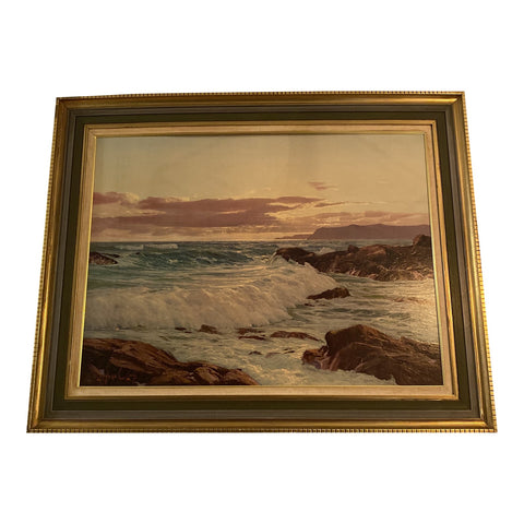 1970s Oceanic Wooden Framed Painting - FREE SHIPPING!
