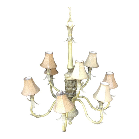 1970s Off White Large Monkey Chandelier with Printed Shades - FREE SHIPPING!