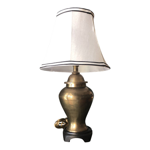 1970s Petite Brass Ginger Lamp With Shade - FREE SHIPPING!