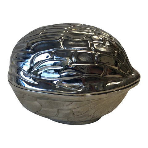 1970s Silver Nut Shaped Catchall Box - FREE SHIPPING!