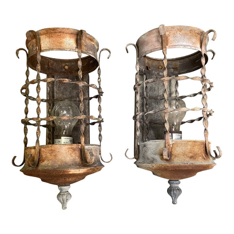 1970s Spanish Style Metal Sconces - a Pair - FREE SHIPPING!