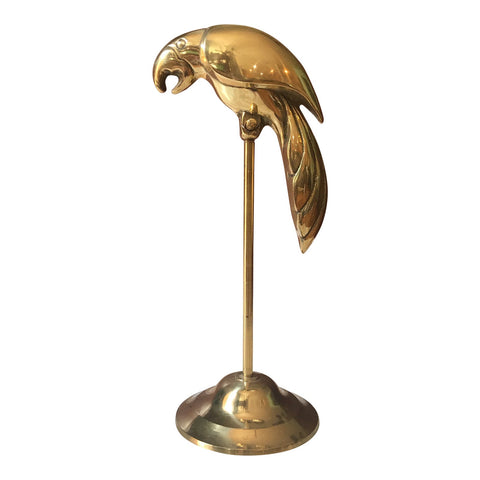 1970s Traditional Brass Parrot Statue on Stand - FREE SHIPPING!